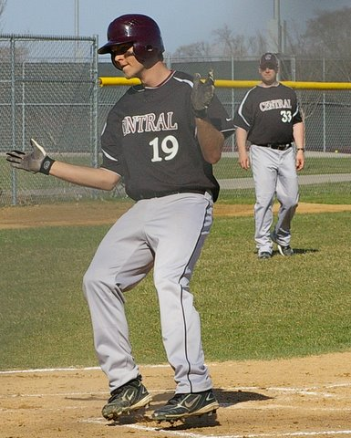 Central's Johnny Wilson scores the first run of the game. Dave Thoss photo