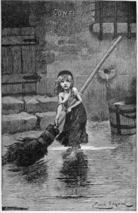 """The character, Cosette, from """"Les Miserables"""" as depicted by Emile Bayard. Public domain via Wikimedia Commons"""