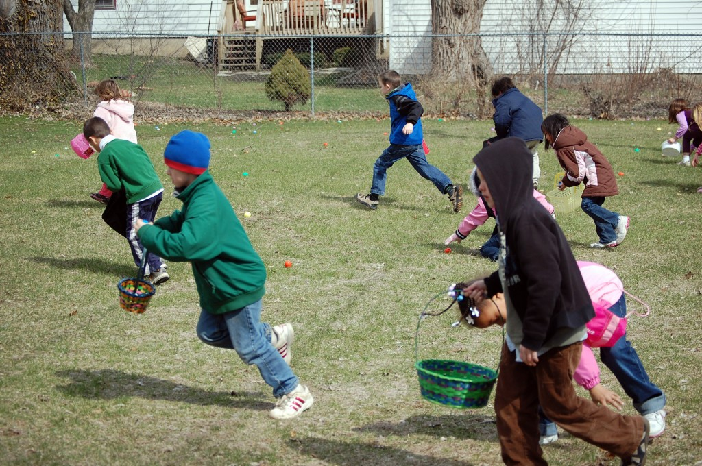 These 6-year-olds were off aand running for eggs at the first sound of the signal whistle.