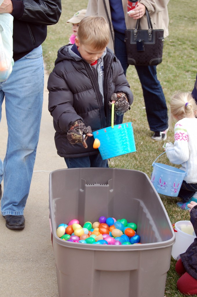 Even Easter egg hunts have gone green. Children at the Wheatland event were asked to recycle their eggs after removing the goods. Everyone seemed to be participating.