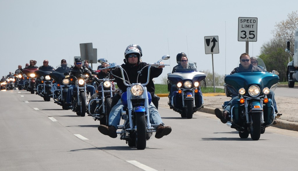The bikes arrive in Paddock Lake on Highway 50