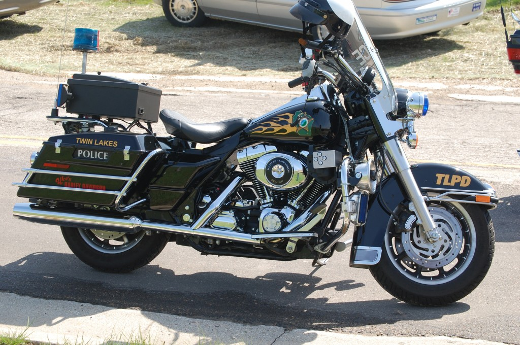 The Twin Lakes Police Department motorcycle helped lead the procession.