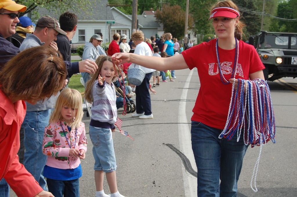 There was a clamor for these red, white and blue beads passed out by the American Legion Auxilary.