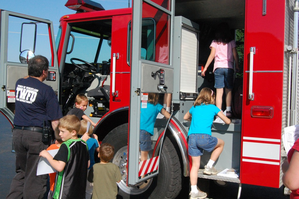 Children were able to get a close up look at this Wheatland Fire Department rig.