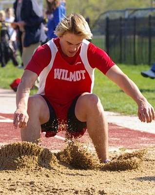 A Wilmot long jumper hits the sand.