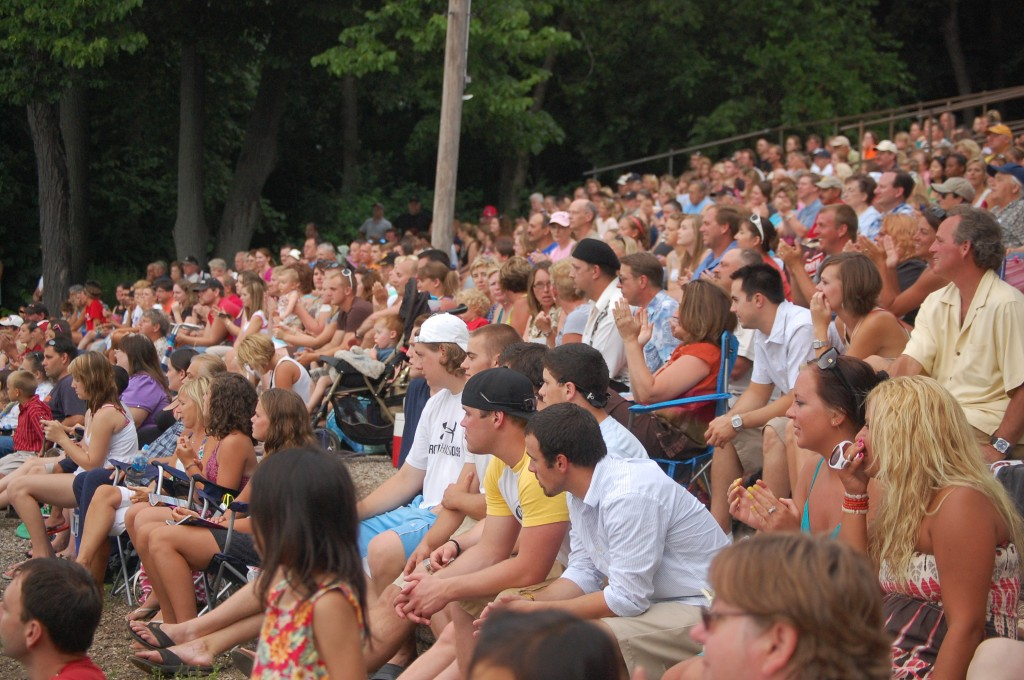 A very large and appreciative crowd watched the Aquanuts performance.