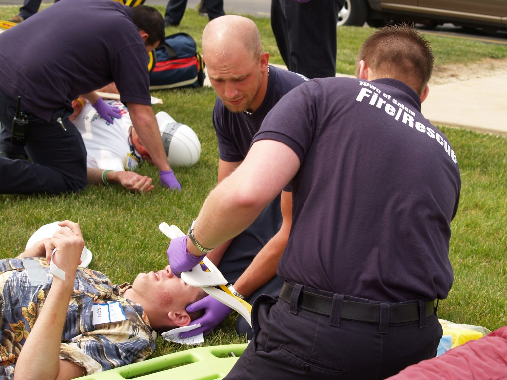 Salem Fire and Rescue tend to wounds of 'victim' before transporting to another hospital
