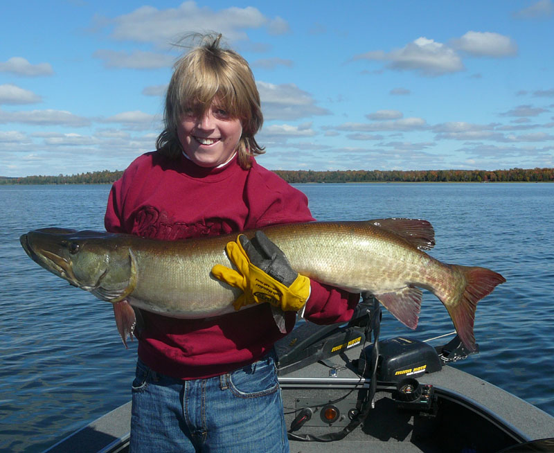 Trevor Bushnick, 1st place winner of the Lac Vieux Desert, Wisconsin Youth Muskie Hunt