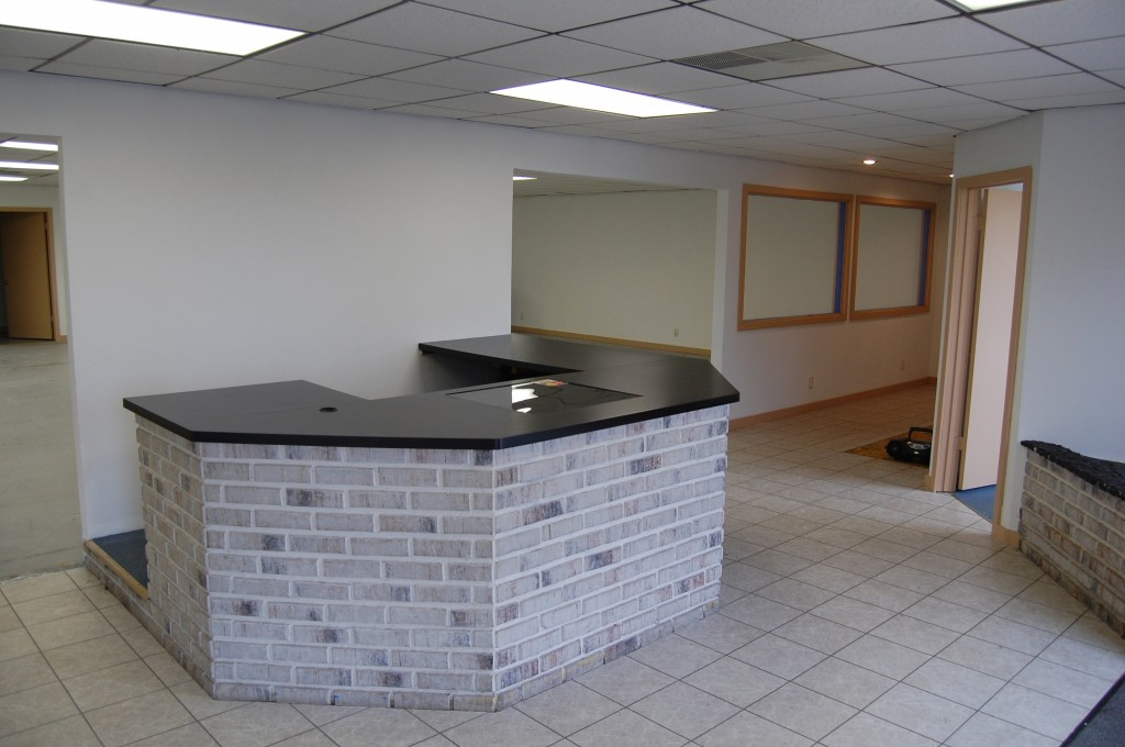 The space for lease in Bumper to Bumper Plaza includes this reception area.