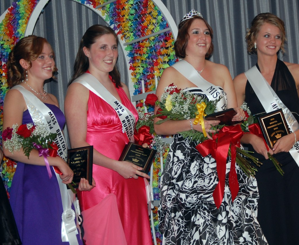 The top finisher in this year's  Miss Bristol pageant are (from left): Rebecca Horton, third runner-up; Shauna Dumelle, second runner-up; Alicia Waligora, Miss Bristol; Margee Prokop, first runner-up.