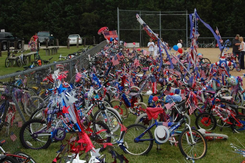 The decorated bikes await judging.