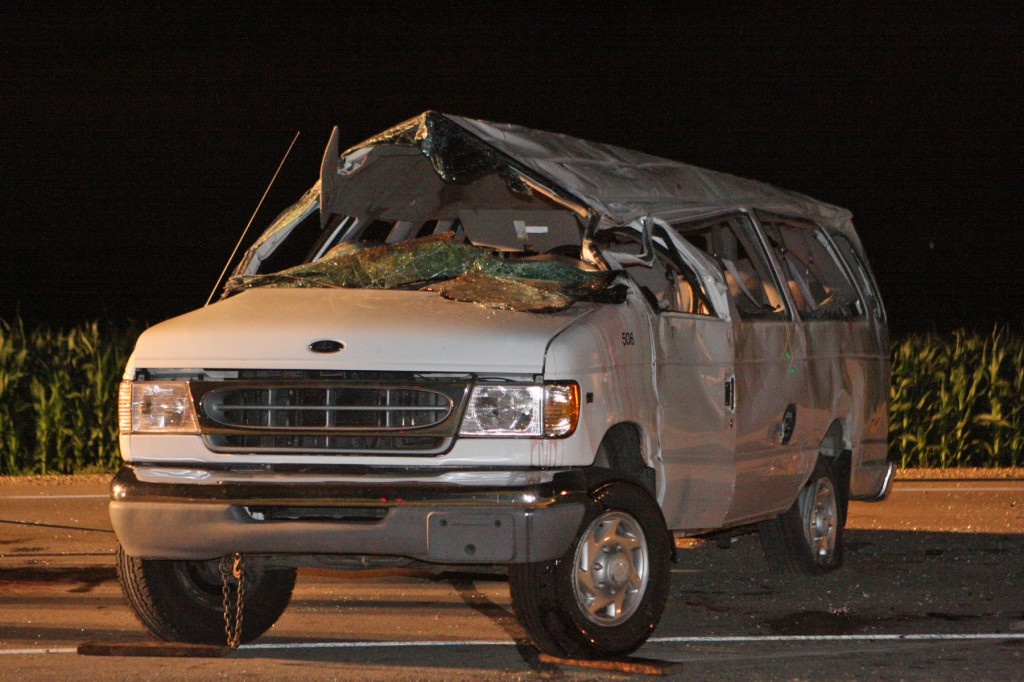 The van involved in a fatal rollover crash in Paris Friday night after being pulled back onto its wheels by a tow truck. Michael Lorenzo of Oak Creek died in the crash.