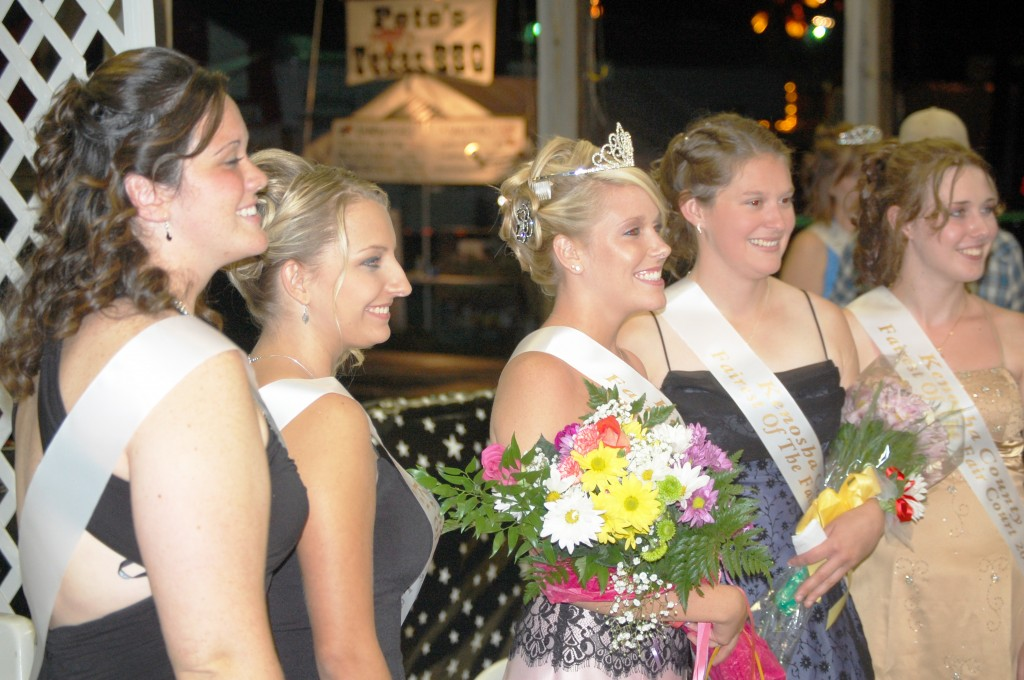 The 2009 Kenosha County Fair Court poses for a photo. From left are: Brittany VanBergen, Ashley Leibforth, Fairest of the Fair Jessica Pawlowski, first runner up Katherine Daniels and Lauryn Vanderwerff.