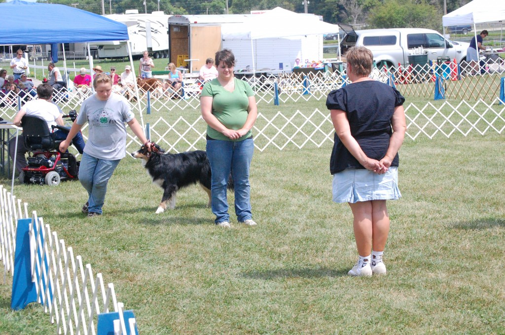 Amanda Boss takes her dog, Jack, through a figure eight during the obedience competition. Boss is a member of the Paris Happy Workers 4-H Club.