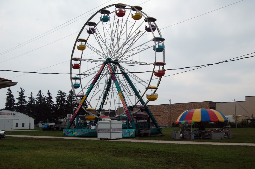 It was just Sunday, but some midway rides were already on scene and set-up.
