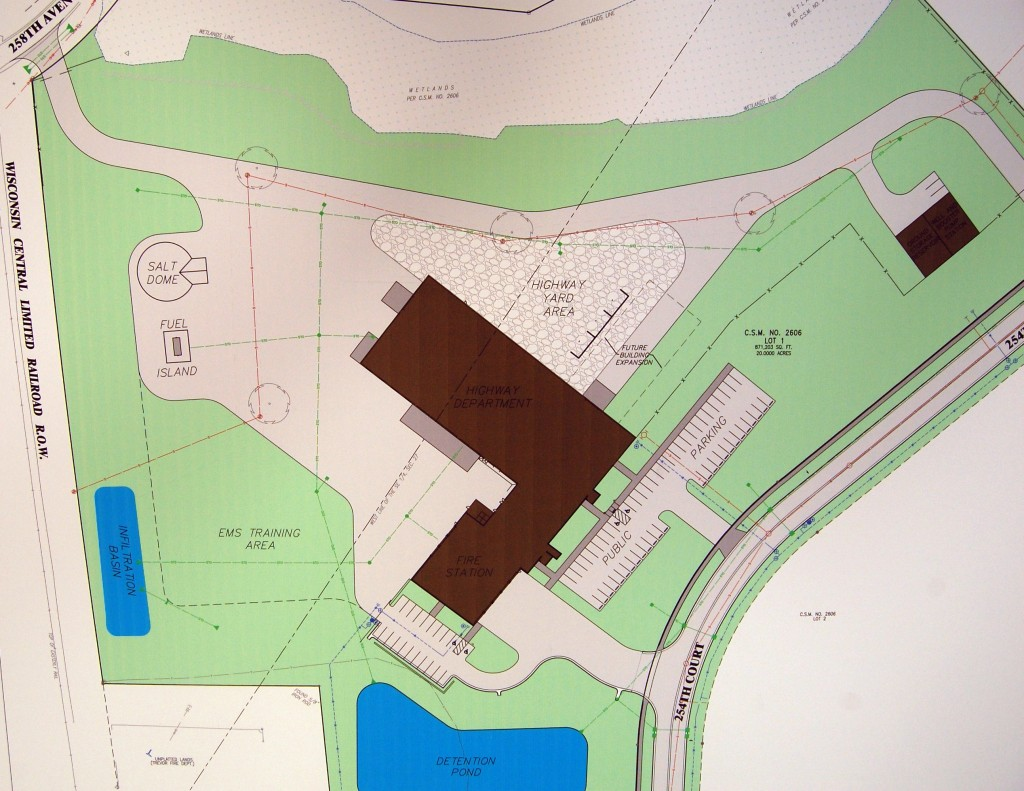 A site plan for the new fire station/public works facility. (Click image for larger view)