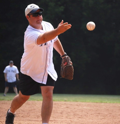 Police Sgt Dennis Linn pitched for five innings. /Andrew Strother photo