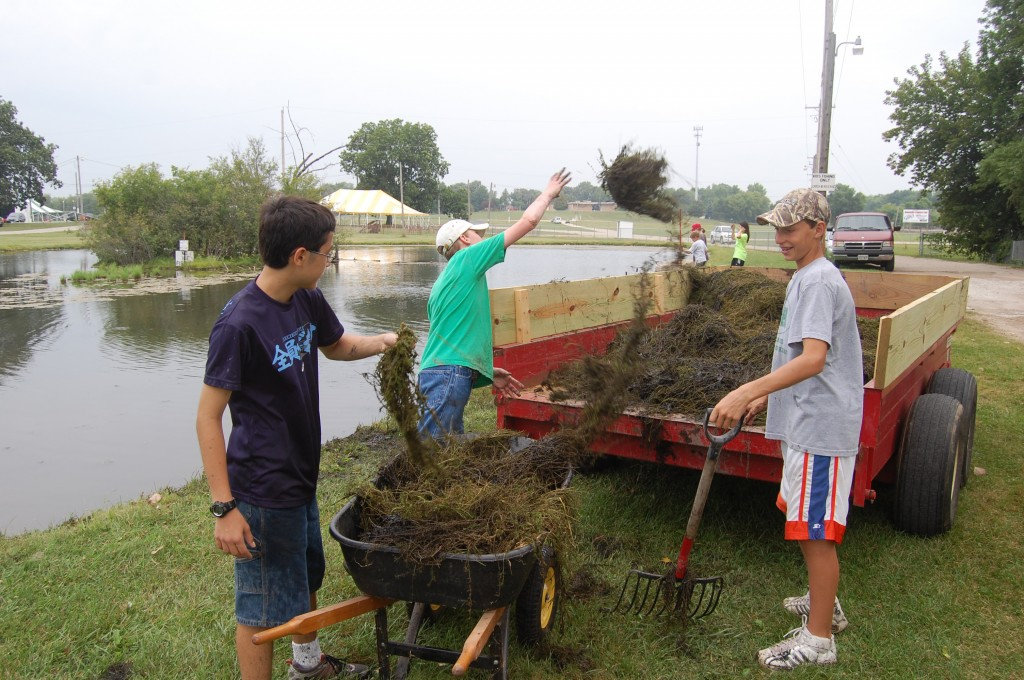 These young workers and others were helping drag excess vegetation out of the casting pond.