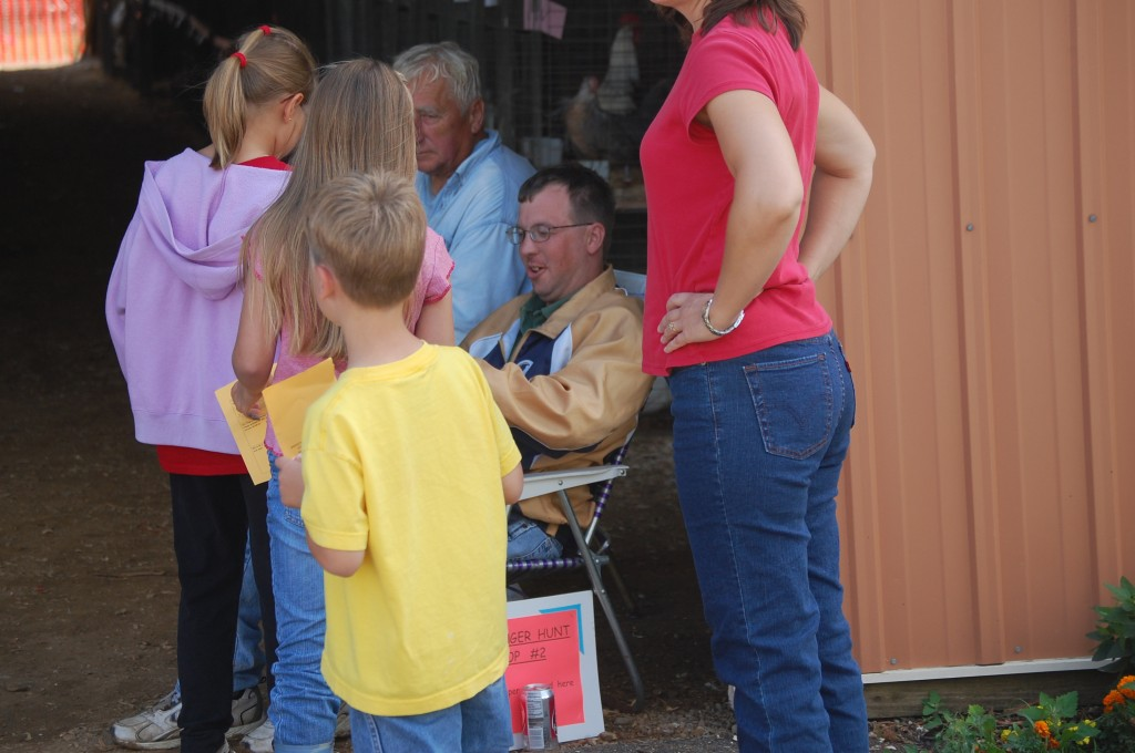 Thursday morning was scavenger hunt time. Crowds of young people, like this just outside of the poultry barn, could be seen around the fairgrounds getting the hunt sheets stamped.