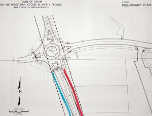 This is a preliminary plan for how a roundabout could look at the entrance/exit to Central High School. (Click for a larger view)