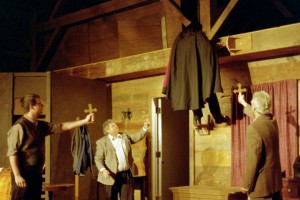 Steve Nelson as Harker, Glen Norgren at Dr. Seward, Mike Cha as Dracula and Phil Williamson as Dr. Van Helsing rehearse Darcula.