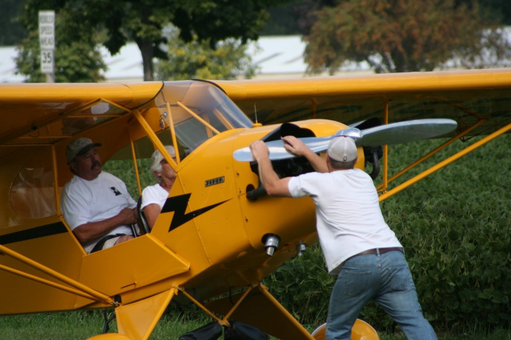 On of the planes in the Young Eagles program gets started. /photo by valentine