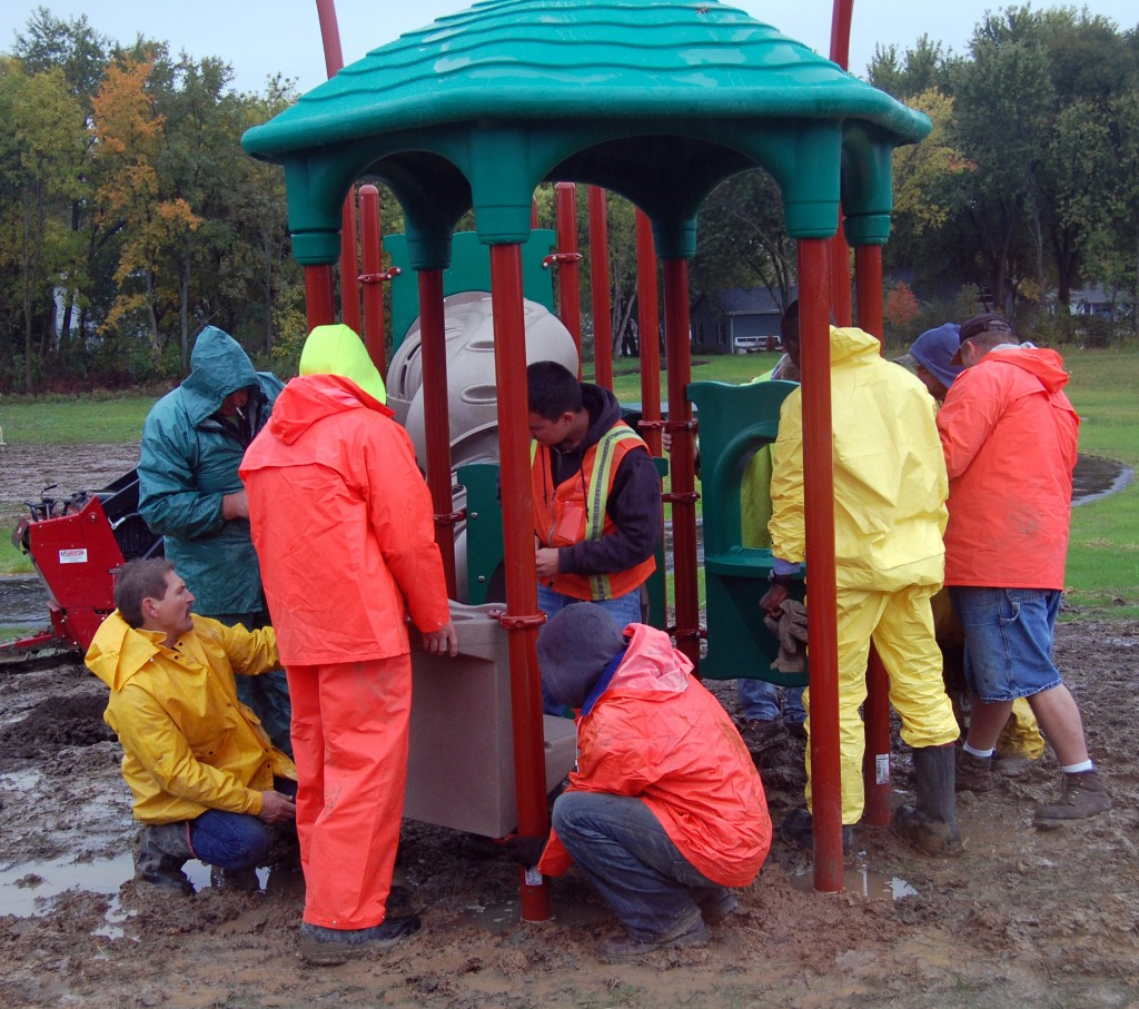 The community playground build was a real group effort.