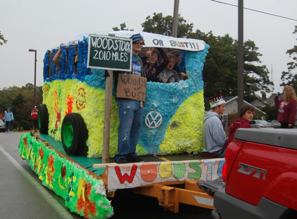The seniors took this colorful bus to Woodstock to fit with the theme of music through the decades.