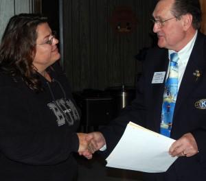 Vicki Robbert is installed as secretary and treasurer by Lt. Governor Ron Soellner.