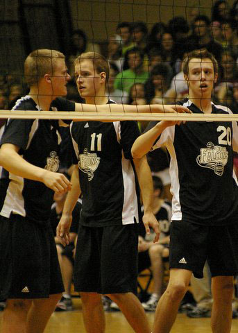 Jimmy Schultz, Tyler Barnstable, and Scott Walter played in their final match for Central in teh sectional final. /David Thoss photo