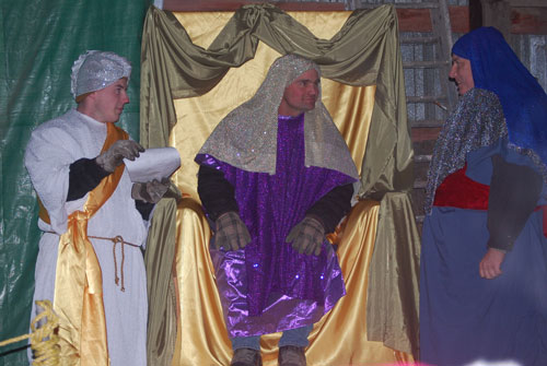 Two wisemen consult with King Herod at the live nativity at Oakvue Farm in Bristol Friday night. The nativity will have two more showings Saturday night as well at 6:30 and 7:45 p.m.