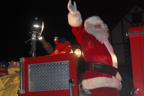 Santa rode on a Twin Lakes Fire Department truck in the Holiday Parade.