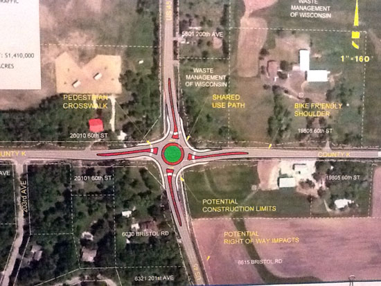 A view of the state's roundabout proposal alternative for the Highway 45-K intersection as presented in April 2012.