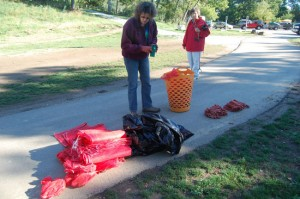 Preparing bags and gloves for last year's clean-up.