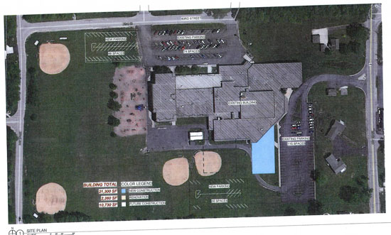 The blue block on this plan shows the proposed location of the new addition.