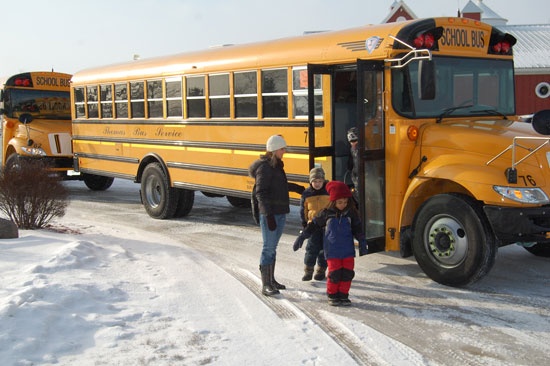 Buses arrive at Weis-Way Farm.