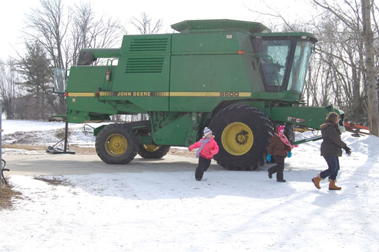 A combine at the Holloway Heritage Farm.