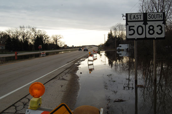 Water at Highway 50 this morning, about 8:15 a.m.