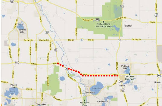 This map supplied by the Wisconsin Department of Transportation shows the area of the Highway 50 closure.