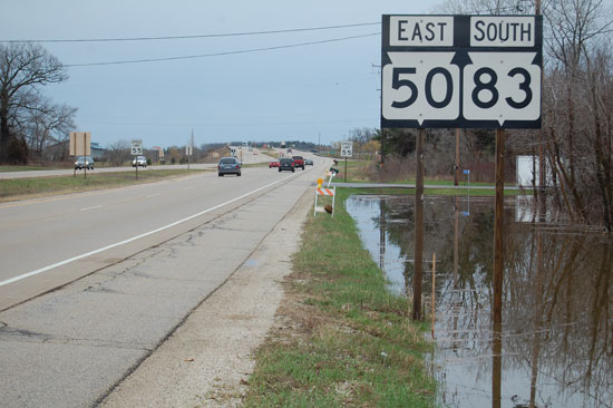 This view shows how close Fox River flood waters were to Highway 50 at about 5 p.m. Thursday.