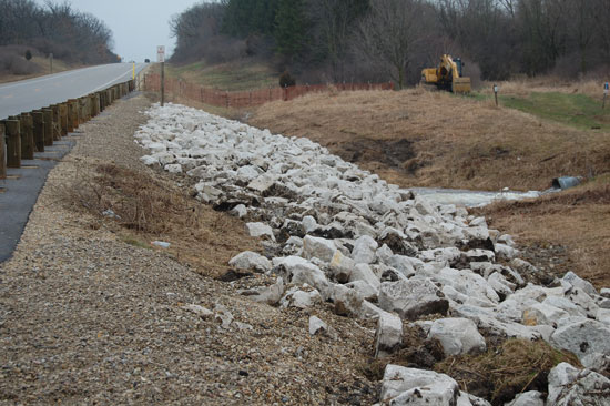 A view of the new riprap along the west side of Highway 75 in Brighton at the Vern Wolfe Lake Dam.