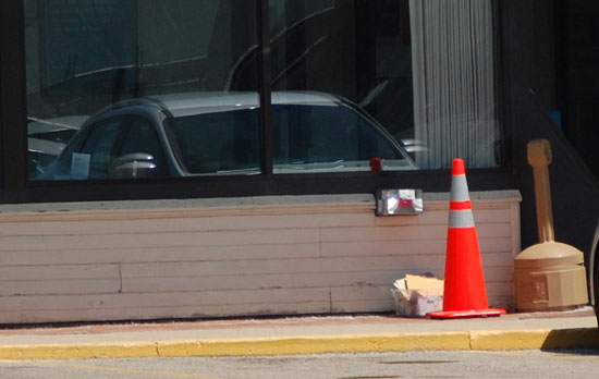 The package was discovered near the door of the bank.