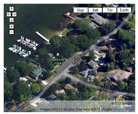 A screen capture of a Google Maps aerial image of Lake Side Park in Powers Lake.