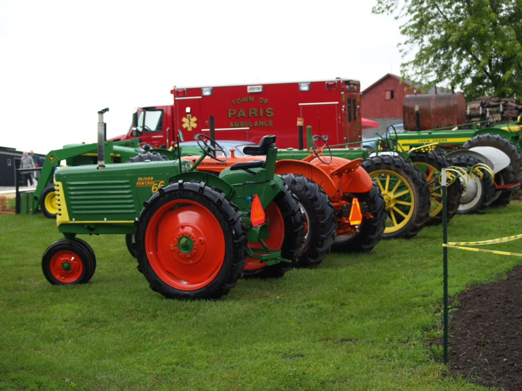 A variety of tractors on display for visitors to explore