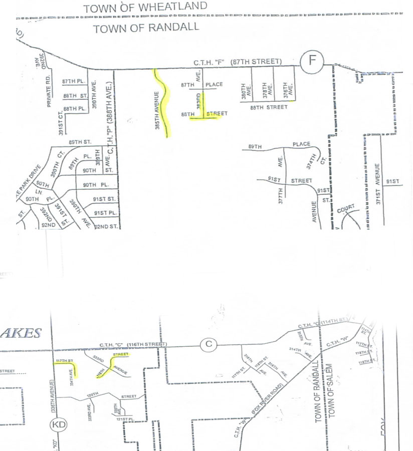 These two area maps (not contiguous) show where the town expects to have slag sealing done. (Click for a larger view)