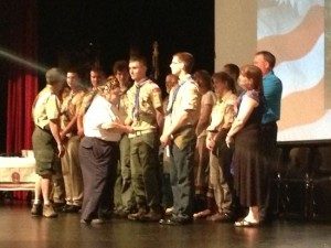 The boys receiving their Eagle Scout pins