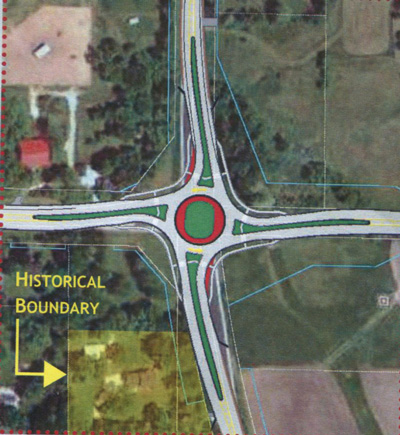 This WisDOT map shows the location of the historical property that prompted a new public information meeting on the Highways 45-K roundabout project Tuesday at the Kenosha County Center.
