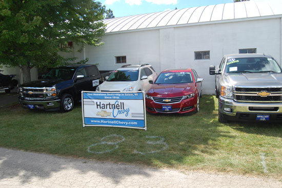 Hartnell Chevrolet has this display of vehicle just outside of the Commercial Building at the Kenosha County Fair. Stop by a take a look, including a 2014 Impala.