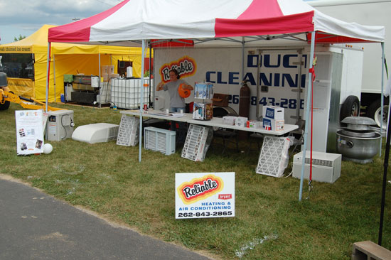 Reliable Heating and Air Conditioning has a display near the main entrance,. Stop by and the kids can pick up a balloon and they can tell you about their latest products -- including a waste oil heating system.