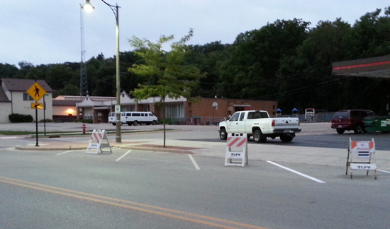 The village blocked off three parking spots on Main Street just east of Burden to see if it improved sight lines.
